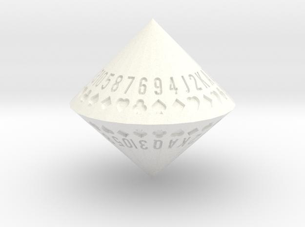 d52 Random Card Generator (solid) in White Processed Versatile Plastic