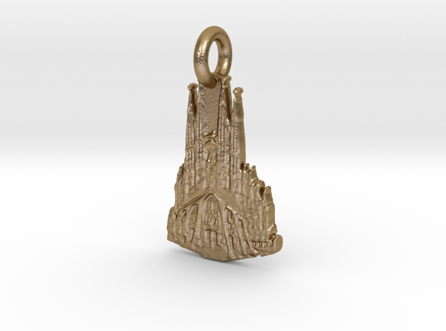 La Sagrada Familia, Barcelona, Spain Charm in Polished Gold Steel