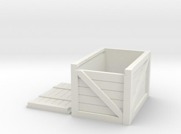 1/10 Scale Wooden box in White Natural Versatile Plastic