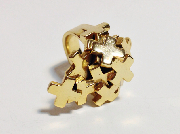 Pile Of Plus Ring 3d printed Gold Plated Brass