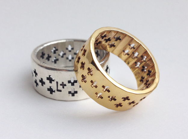 Plus Pattern Ring 3d printed Sterling Silver and Gold Plated Brass