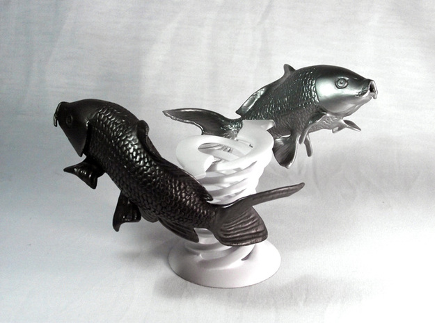 Yin Yang Koi: Black Koi 3d printed Black fish only, the holder and the white one are not included