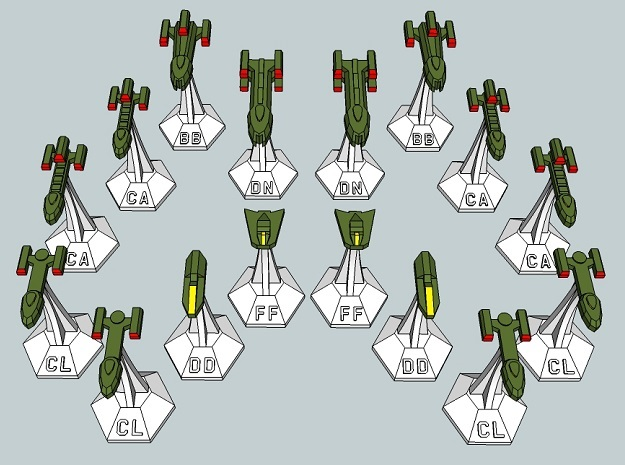 MicroFleet Tridran Heavy Battle Group (16pcs) in Frosted Ultra Detail