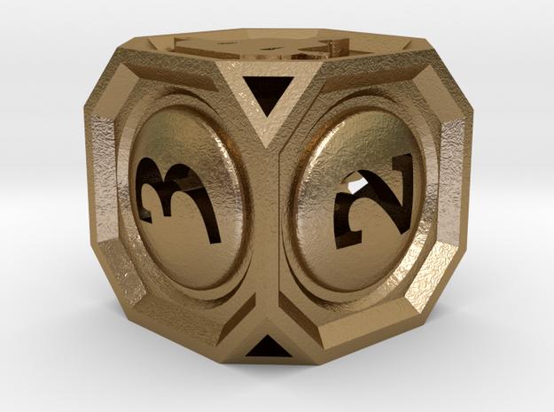 MetaGameGurus D6 14mm v01 in Polished Gold Steel