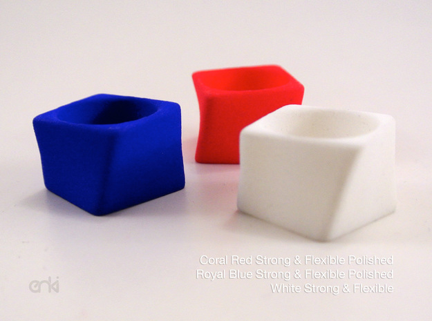 Twisted Cube - Ring - size56 - diam17,8mm in White Natural Versatile Plastic