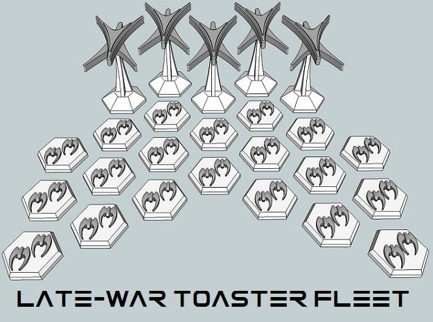 MicroFleet Late-War Toaster Fleet in White Acrylic