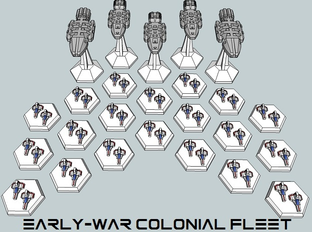 MicroFleet BSG Early-War Colonial Fleet (25pcs) in White Acrylic