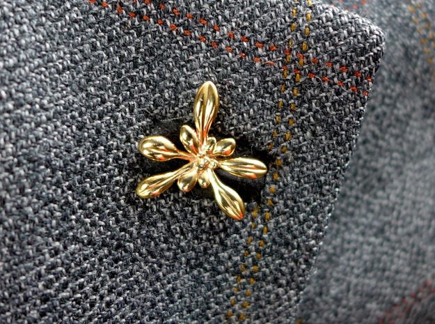 Arabidopsis Lapel Pin in Polished Bronze