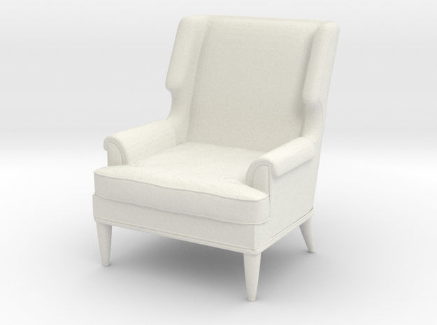 1:24 Leather Club Chair in White Natural Versatile Plastic