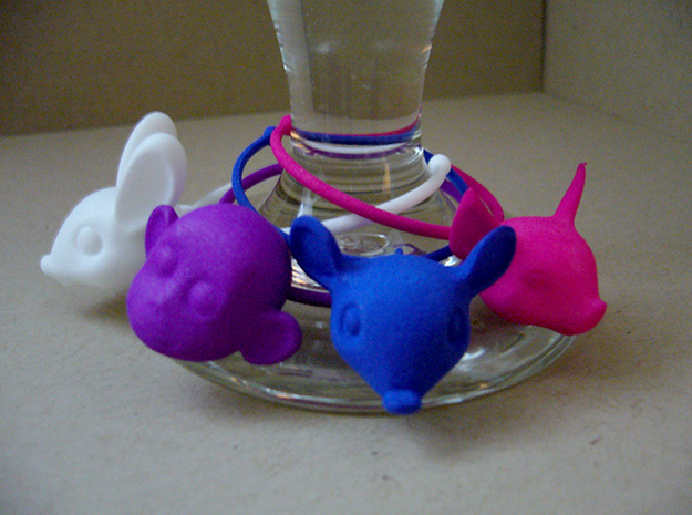 Bunny Wine Glass Charm 3d printed bunny, monkey, mouse and pig wine glass charms