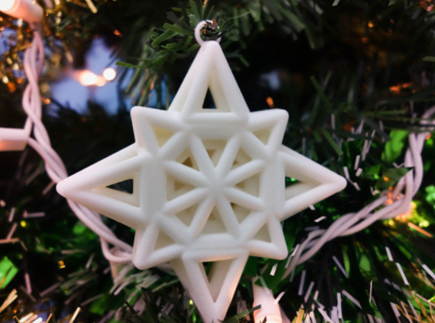Wireframe Star Ornament in White Natural Versatile Plastic