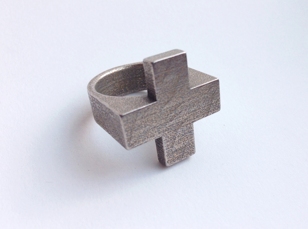 Plus Ring   3d printed Stainless Steel