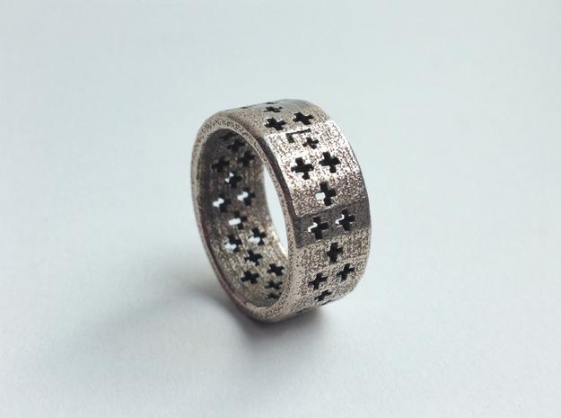 Plus Pattern Ring 3d printed Stainless Steel