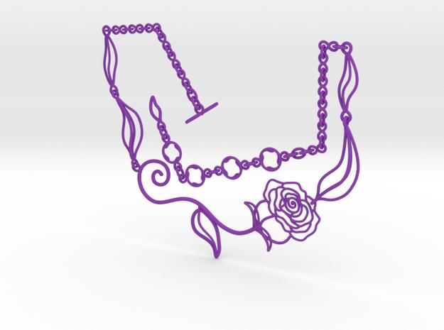 Leaves, Love & Roses Necklace  in Purple Processed Versatile Plastic