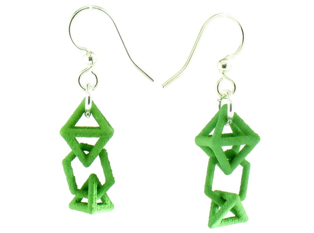 Baby Platonic Solids Earrings, clean style in Green Processed Versatile Plastic