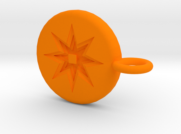 Intricate Pendant in Orange Processed Versatile Plastic