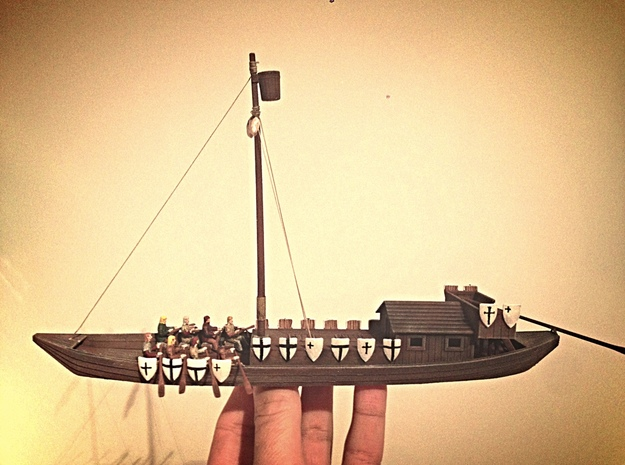 Medieval Teutonic Riverboat 3d printed Painted riverboat