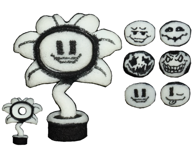 Custom Flowey Inspired Figure for Lego in White Natural Versatile Plastic