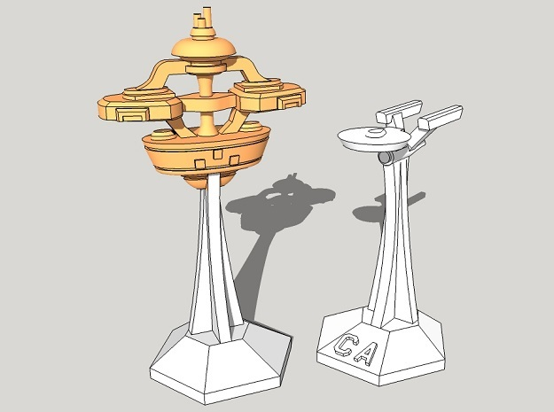 """MicroFleet """"Alamo""""-Class Defense Outposts (8pcs) in Smooth Fine Detail Plastic"""