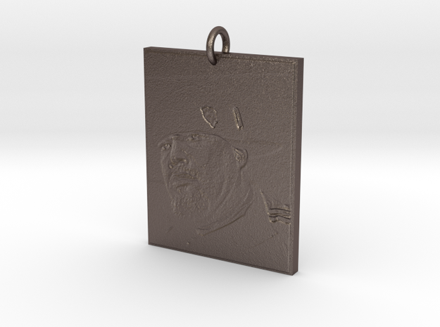 Rory Pendant in Polished Bronzed Silver Steel