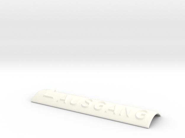 AUSGANG mit Pfeil nach links und nach oben in White Processed Versatile Plastic