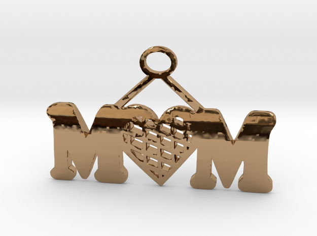 Mom Pendant in Polished Brass