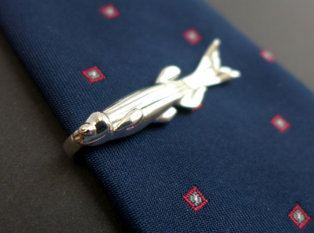 Zebrafish Tie Bar - Science Jewelry in Polished Silver