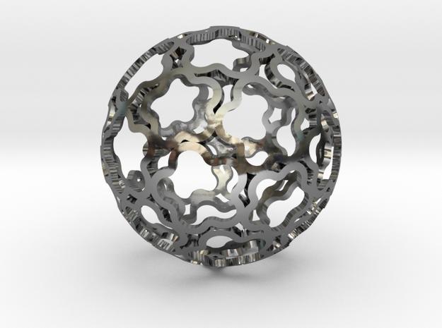 Pendant Flower Ball 28 in Premium Silver