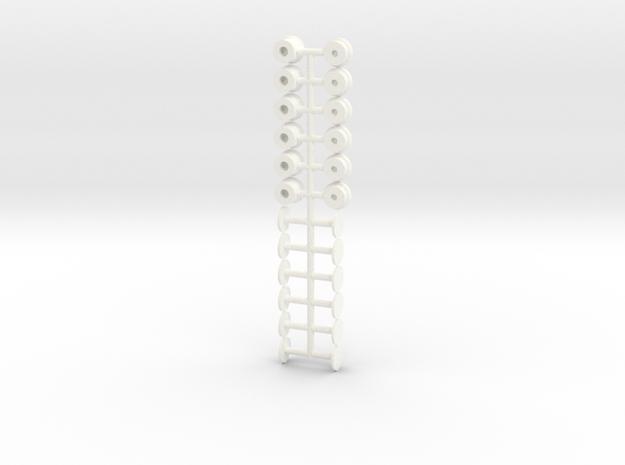 Space Suit Valves 1:6 Scale (12 Pack) in White Processed Versatile Plastic