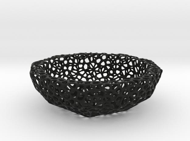 Bowl (19 cm) - Voronoi-Style #3 in Black Natural Versatile Plastic