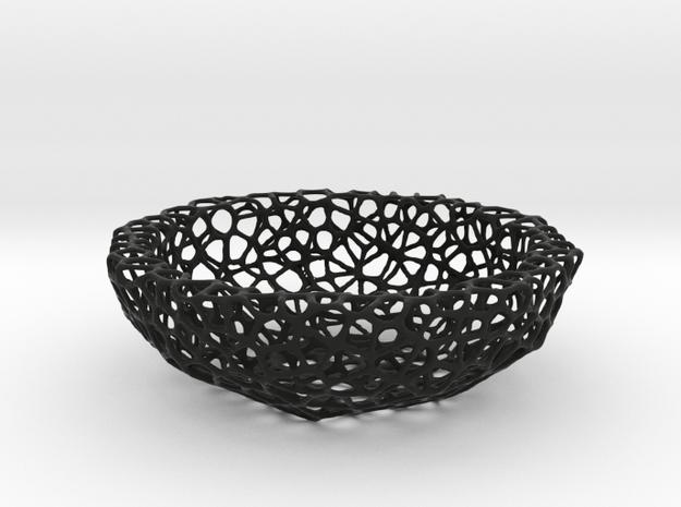 Little Bowl (15 cm) - Voronoi-Style #2 in Black Natural Versatile Plastic
