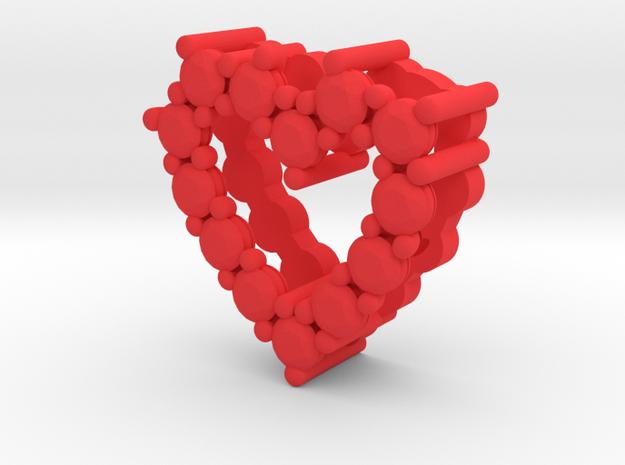 "Pendentif Heart, small ""diamonds"" in Red Processed Versatile Plastic"