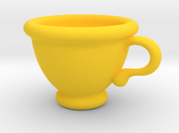 Coffee Cup Pendant in Yellow Processed Versatile Plastic