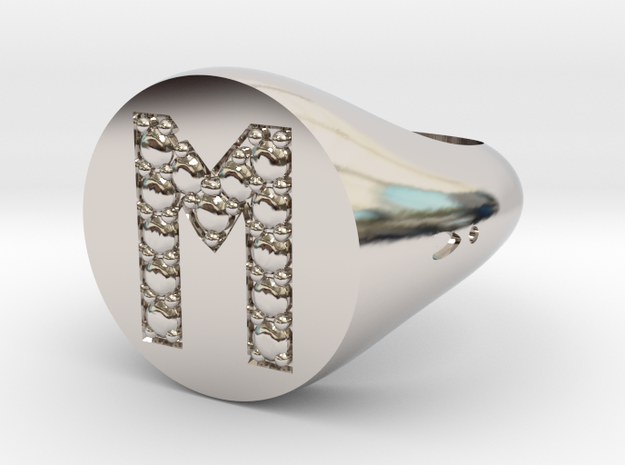 "Ring Chevalière Initial ""M""  in Rhodium Plated"