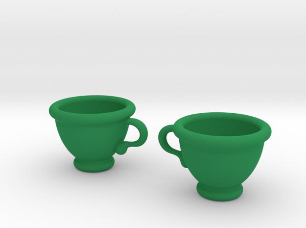 Coffee Cups Earrings in Green Processed Versatile Plastic