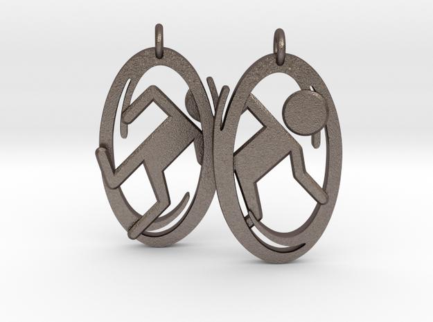 Portal Earrings in Polished Bronzed Silver Steel