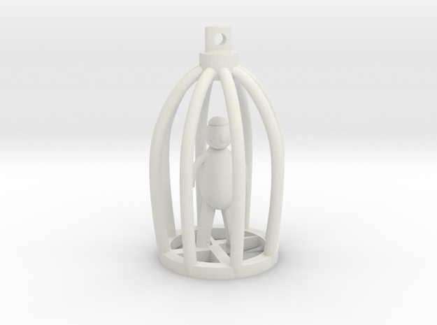 Blind Man in Broken Cage Pendant in White Strong & Flexible