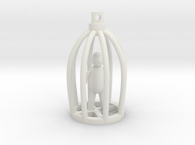 Blind Man in Broken Cage Pendant in White Natural Versatile Plastic