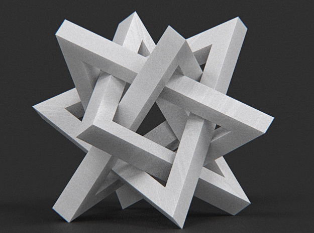 Orderly Tangle 02 - Four Hollow Triangles in White Processed Versatile Plastic