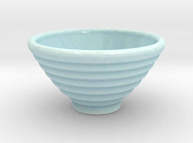 DRAW bowl - ceramic ribbed in Gloss Celadon Green Porcelain