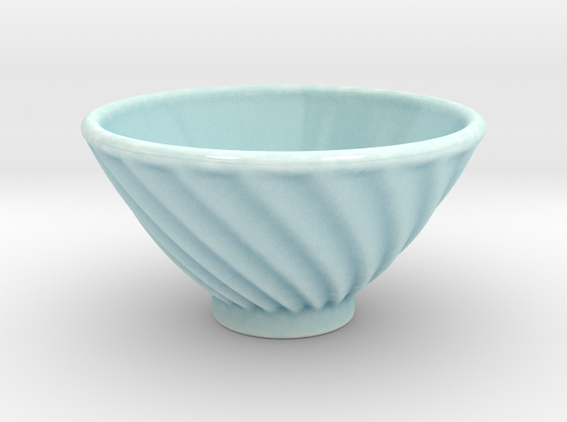 DRAW bowl - ceramic spiral ridged