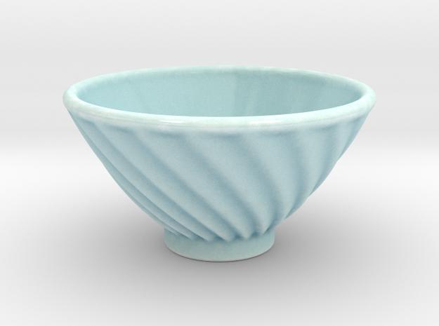 DRAW bowl - ceramic spiral ridged in Gloss Celadon Green Porcelain