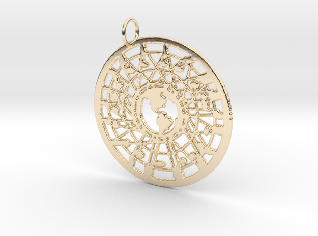 'Our World' Pendant in 14k Gold Plated Brass