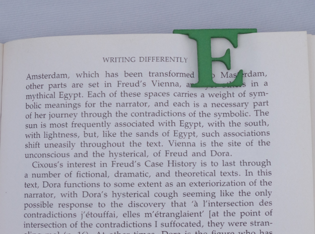 Bookmark Monogram. Initial / Letter  E  in Green Strong & Flexible Polished