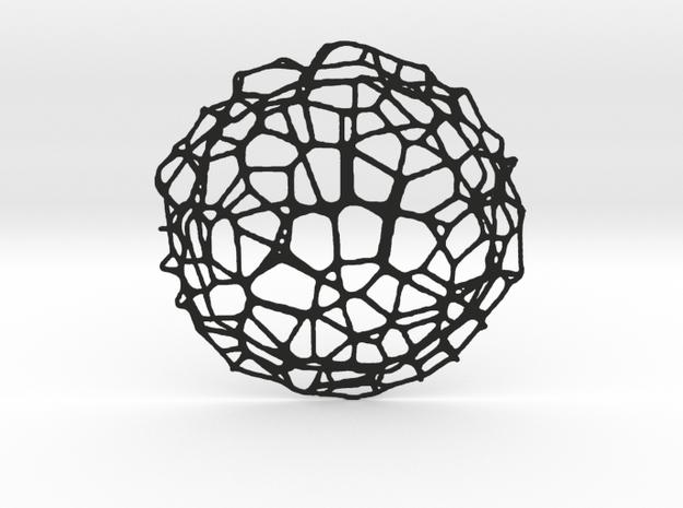 Coaster - Voronoi #9 (14 cm) in Black Natural Versatile Plastic