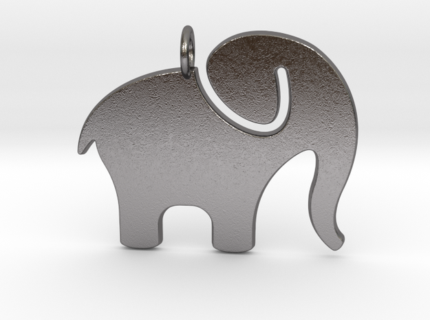 Elephant Pendant in Polished Nickel Steel