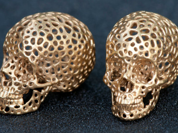 Voronoi Human Skull  in Natural Silver