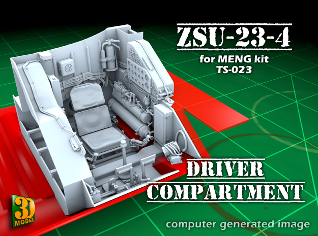 ZSU-23-4 shilka driver compartment (MENG) in Smooth Fine Detail Plastic