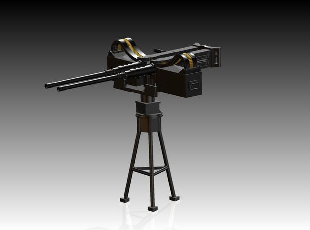 2 x Twin Modern 50 Cal Browning on Tripod 1/39 in Frosted Ultra Detail
