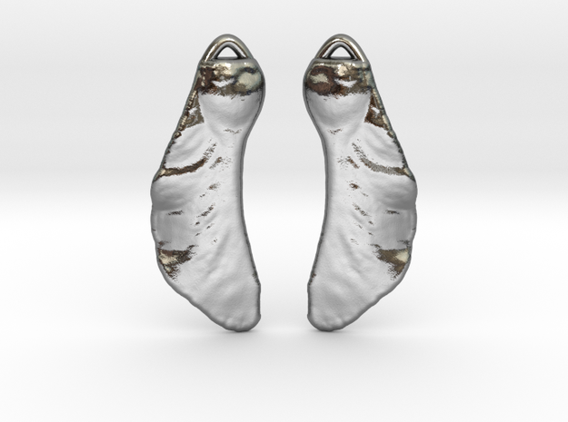 Maple Seed Earrings in Polished Silver